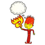 Fire spirit cartoon with thought bubble Royalty Free Stock Image