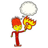 Fire spirit cartoon with thought bubble Royalty Free Stock Images