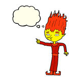 Fire spirit cartoon with thought bubble Royalty Free Stock Photography