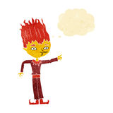Fire spirit cartoon with thought bubble Stock Photos