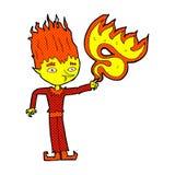 Fire spirit comic cartoon. Fire spirit retro comic book style cartoon Stock Photos