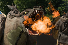 Fire spitting, Fire Breathing Dragon Stock Photo