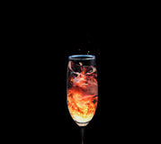 Fire Splash. A drink that's appears to be like a fire, splashing Royalty Free Stock Image