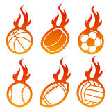 Fire Sport Balls. Set of sport balls icons with flames Royalty Free Stock Photo