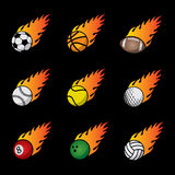 Fire Sport Balls Vector Template Set. On the black background Royalty Free Stock Photography