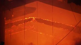 Fire in sports hall. A video of a fire in a sports hall stock footage
