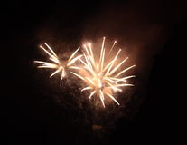 Fire sprey. Spray of Fireworks  in the night sky Royalty Free Stock Photography