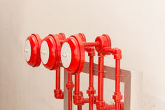 Fire sprinkler alarm for industries, fire protection system, Fir Stock Photos