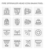 Fire sprinkler icon. Fire sprinkler head and device icon set, 64x64 pixel and editable stroke Royalty Free Stock Photo