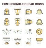 Fire sprinkler icon. Vector icon design of fire sprinkler system include fire sprinkler head, spray water and smoke detector  on white background Royalty Free Stock Photo