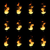 Fire sprite sheet. Cartoon vector flame game animation Stock Photo