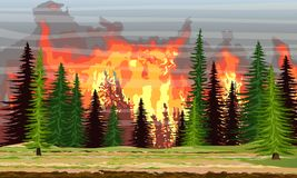 Fire in the spruce forest. Burning trees. Wildfire. Catastrophe. Realistic Vector Landscape royalty free illustration