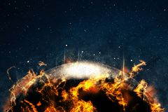 Fire star in space with flame. Fantasy image of star in universe illustration Stock Image