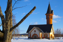 Fire-station-01. An old fire station from northern sweden looking like a church or a fairy tale house Stock Images