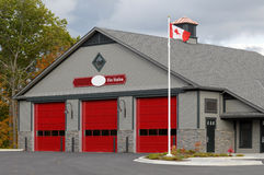Fire Station. Modern Fire Station building with Canadian flag Stock Photography