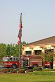 Fire Station. Early in the morning as the sun is rising Royalty Free Stock Image