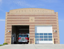 Fire Station. A fire station with fire truck inside Royalty Free Stock Image
