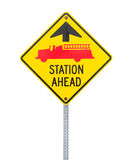 Fire station ahead sign. Stock Photography
