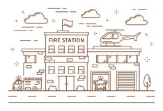 Fire station building. Fire station building line art with car and helicopter Stock Photo
