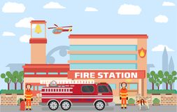 Fire station building. In vector with urban background contains emergency vehicle and firefighters with dogs Stock Photo