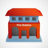 Fire station building. Fire station icon red 3d building template isolated vector illustration Stock Image