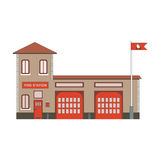 Fire station building icon. Vector flat illustration Stock Images