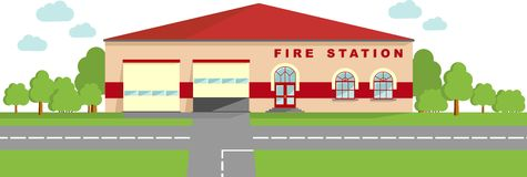 Fire station concept. Panoramic background with fire station building in flat style. Royalty Free Stock Photos