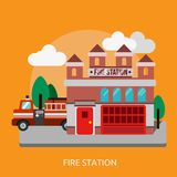 Fire Station Conceptual Design. Great flat illustration concept icon and use for business, building, working, architecture and much more Stock Photo