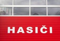 Fire station in Czech Republic czech text: firefighters / firemen royalty free stock image