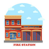 Fire station or department for firefighters. Fire station or department structure for firefighters panorama. Building with firemen for rescue and protect service Royalty Free Stock Photos