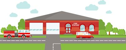 Fire station emergency concept. Panoramic background with fire station building and fire truck in flat style. Stock Image