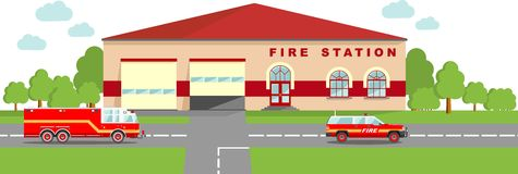 Fire station emergency concept. Panoramic background with fire station building and fire truck in flat style. Detailed illustration of  fire station building Royalty Free Stock Image