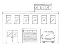 Free Fire Station Exterior Building Front View Graphic Black White Isolated Sketch Illustration Vector Royalty Free Stock Images - 198728949