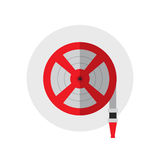 Fire station, Fire hose reel icon. Single silhouette fire equipment icon. Vector illustration. Flat style.  Royalty Free Stock Photos