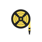 Fire station, Fire hose reel icon. Single silhouette fire equipment icon. Vector illustration. Flat style. Stock Photo