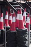 Traffic cones bollards equipment. Fire station firefighter training equipment Traffic cones bollards used by fireman to simulate fires drills Stock Photography