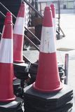 Traffic cones bollards equipment. Fire station firefighter training equipment Traffic cones bollards used by fireman to simulate fires drills Royalty Free Stock Photography