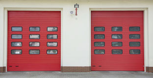 Fire Station Garage Row. Red colour Stock Images
