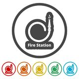 Fire station icon, Fire Service icons set, 6 Colors Included. Simple  icons set Stock Photo