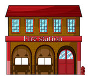 A fire station. Illustration of a fire station on a white background Royalty Free Stock Photos