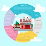 Fire Station Infographic. Set of vector diagram illustration use for presentation, business, marketing and much more.The set can be used for several purposes Stock Photo