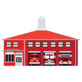 Isolated fire station. Fire station isolated on white background, Vector illustration Stock Image