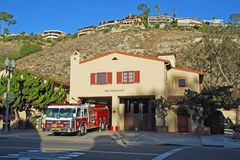 Fire Station for Laguna Beach, California. The Laguna Beach Fire Station seen in this image was built in 1934 at 501 Forest Avenue across from the Lumberyard stock photography