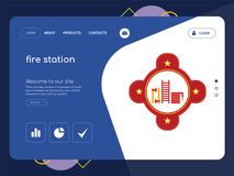 Fire station Landing page website template design. Quality One Page fire station Website Template Vector Eps, Modern Web Design with flat UI elements and Royalty Free Stock Image