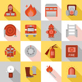 Fire Station Long Shadow Flat Icons. With equipment and protective clothing truck and building  vector illustration Stock Photos
