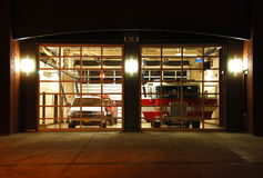 Fire Station at Night Royalty Free Stock Photos