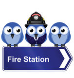 Fire station sign. Comical fire station sign isolated on white background Royalty Free Stock Photo