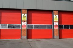 Fire Station. Triple doors at the Fire Station in Ilkeston Stock Photography