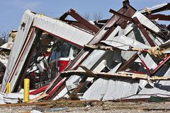 Fire Station, truck destroyed by tornado. Stock Photos