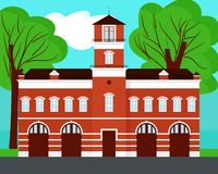 Fire station cartoon on landscape. Fire station vector ion landscape illustration Royalty Free Stock Images
